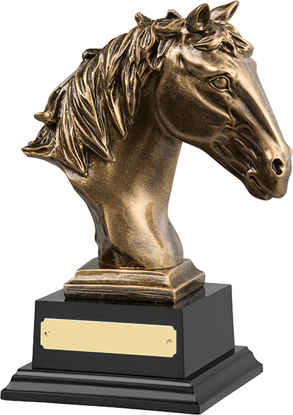 "Antique Gold Finished Horse Head Equestrian Trophy 21cm (8.25"")"