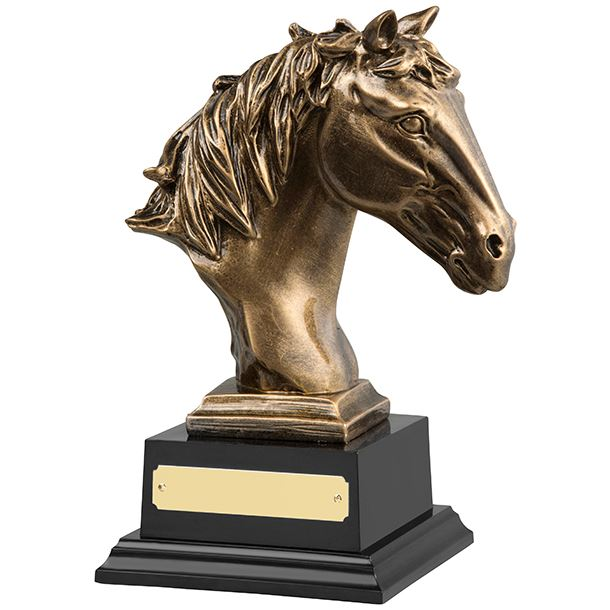 """Antique Gold Finished Horse Head Equestrian Trophy 21cm (8.25"""")"""
