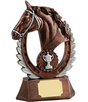 "Antique Bronze Finished Laurel Wreath Equestrian Trophy 20.5cm (8"")"