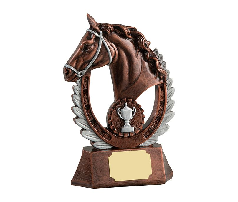 "Antique Bronze Finished Laurel Wreath Equestrian Trophy 20.5cm (8"")"
