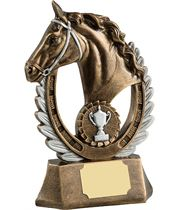 "Antique Gold Finished Laurel Wreath Equestrian Trophy 20.5cm (8"")"