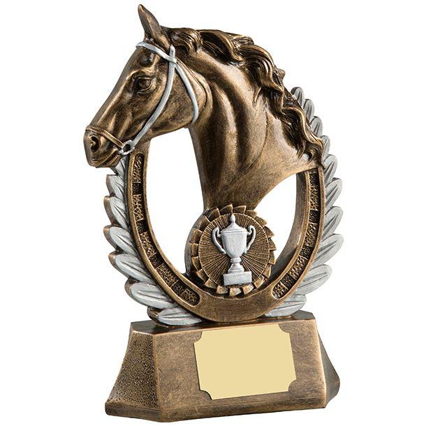 "Antique Gold Finished Laurel Wreath Equestrian Trophy 20.5cm (8"")"