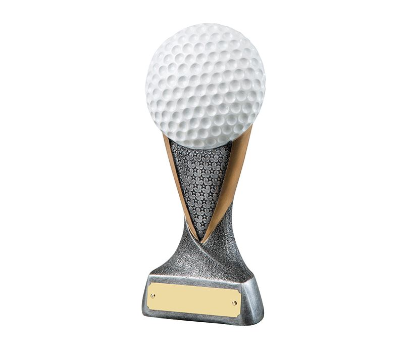 "Silver & Gold 2D Golf Ball Trophy with Star Pattern 18.5cm (7.25"")"