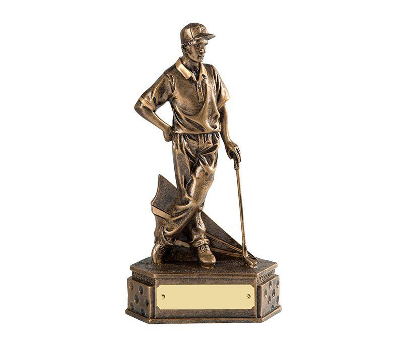 "Gold Resin Male Golf Trophy Holding Golf Club 19cm (7.5"")"