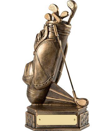 """Gold Golf Bag Trophy on Dimpled Base 20.5cm (8"""")"""