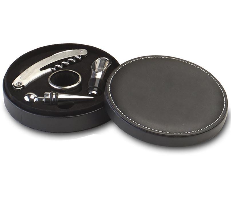 "Round Leather Finish 4 Piece Wine Gift Set 19.5cm (7.75"")"