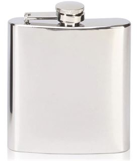 "Mirror Finished Stainless Steel 6oz Hip Flask 12cm (4.75"")"