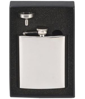 """Mirrored Finish Stainless Steel 6oz Hip Flask & Funnel 12cm (4.75"""")"""