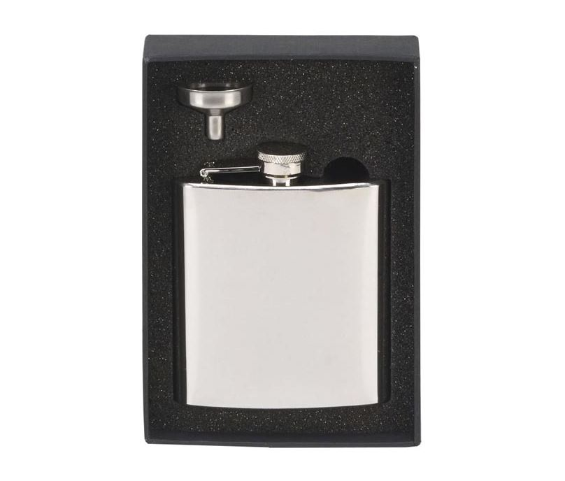 "Mirrored Finish Stainless Steel 6oz Hip Flask & Funnel 12cm (4.75"")"