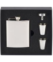 """Mirror Finished Stainless Steel 6oz Hip Flask with Cups & Funnel 12cm (4.75"""")"""