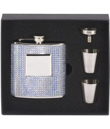 "Bling Finished Stainless Steel 6oz Hip Flask with Cups & Funnel 12cm (4.75"")"