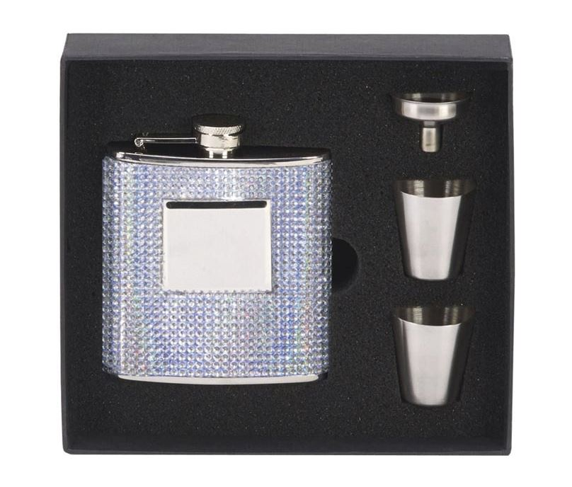"""Bling Finished Stainless Steel 6oz Hip Flask with Cups & Funnel 12cm (4.75"""")"""