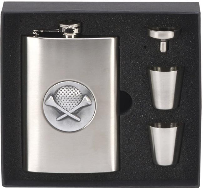 Stainless Steel Satin Finish 8oz Golf Hip Flask with Funnel & Cups