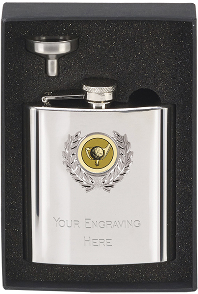 "Stainless Steel 6oz Golf Hip Flask & Funnel 12cm (4.75"")"