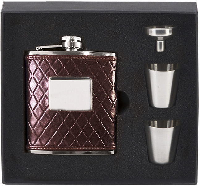 "Brown Leather Stainless Steel 6oz Hip Flask with Cups & Funnel 12cm (4.75"")"