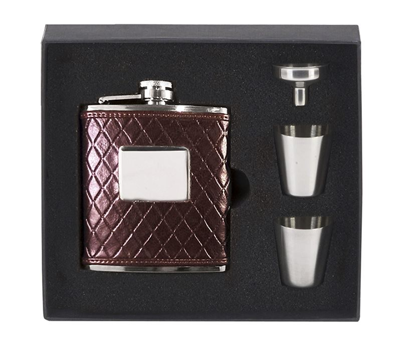 """Brown Leather Stainless Steel 6oz Hip Flask with Cups & Funnel 12cm (4.75"""")"""