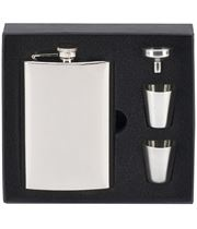 """Mirror Finished Stainless Steel 8oz Hip Flask with Cups & Funnel 14cm (5.5"""")"""