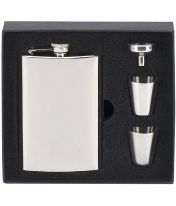 "Mirror Finished Stainless Steel 8oz Hip Flask with Cups & Funnel 14cm (5.5"")"