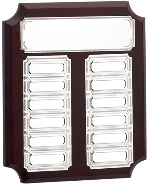 "Wooden Presentation Plaque with Silver Recognition Plates 19cm (7.5"")"