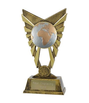 "Valiant Globe Trophy Gold 23cm (9"")"