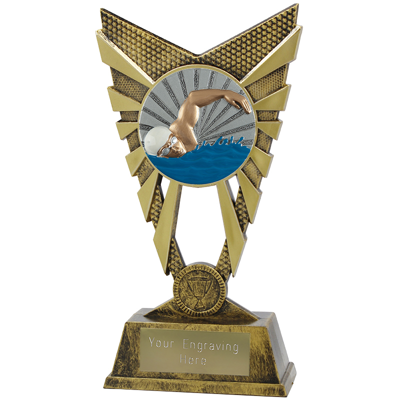 "Valiant Swimmer Heavyweight Trophy Gold 23cm (9"")"