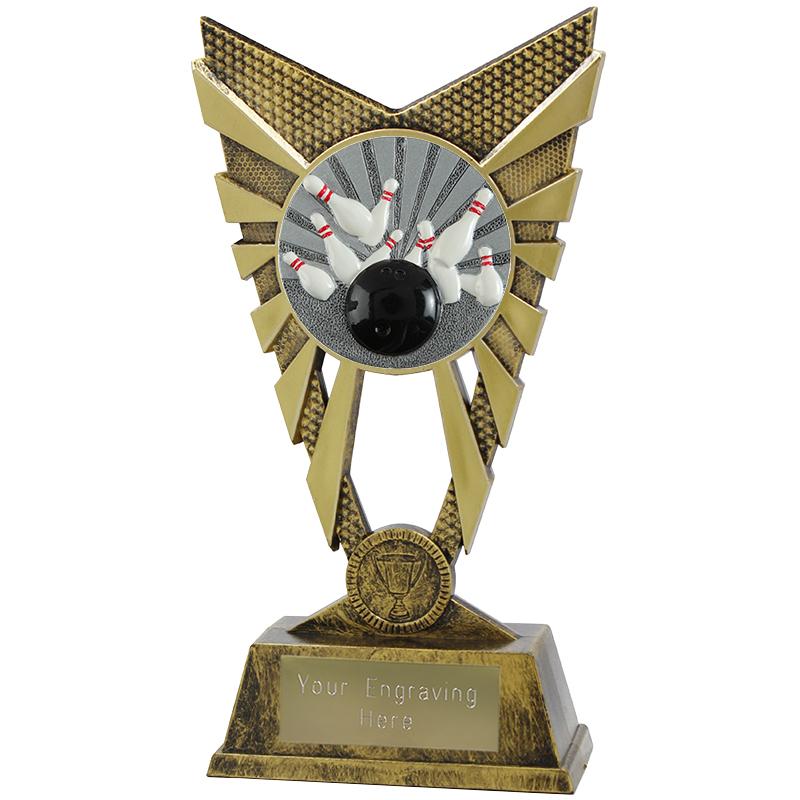 "Valiant Tenpin Bowling Heavyweight Trophy Gold 23cm (9"")"