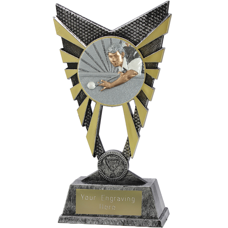 """Valiant Snooker Player Heavyweight Trophy Silver 23cm (9"""")"""