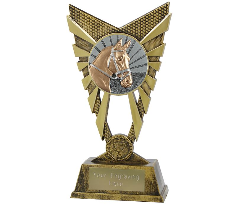 "Valiant Horse Trophy Gold 23cm (9"")"