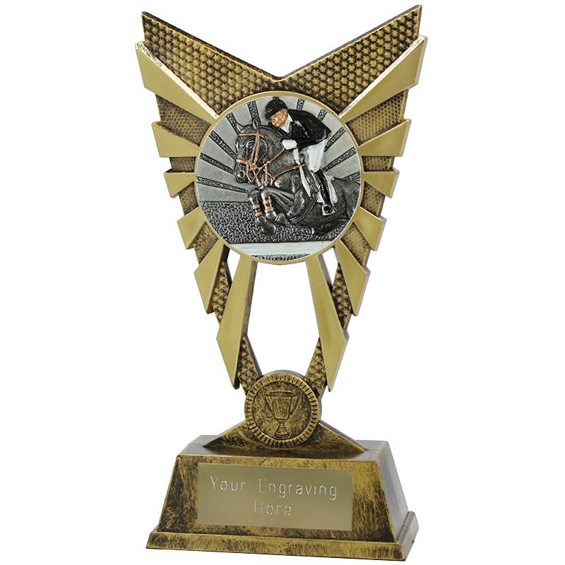 "Valiant Show Jumping Heavyweight Trophy Gold 23cm (9"")"