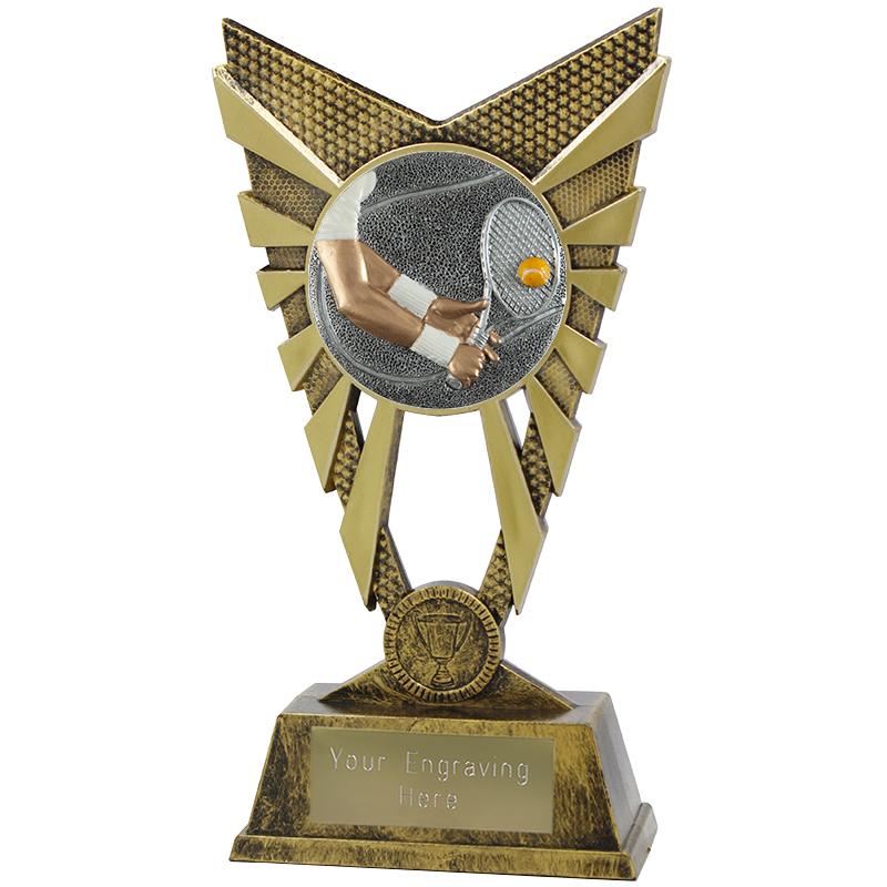 "Valiant Tennis Heavyweight Trophy Gold 23cm (9"")"