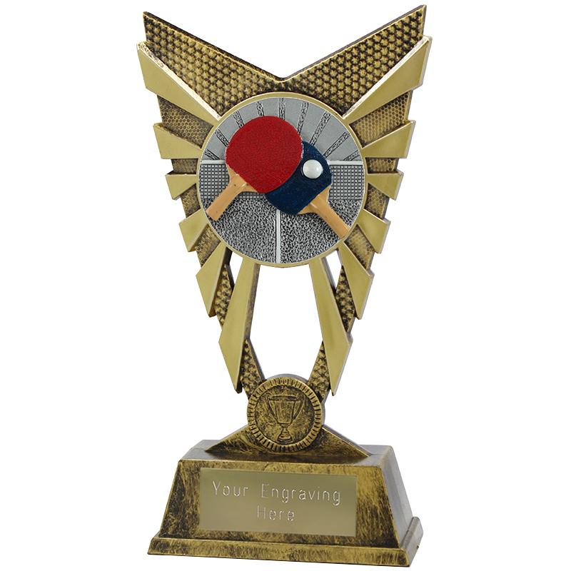 "Valiant Table Tennis Heavyweight Trophy Gold 23cm (9"")"