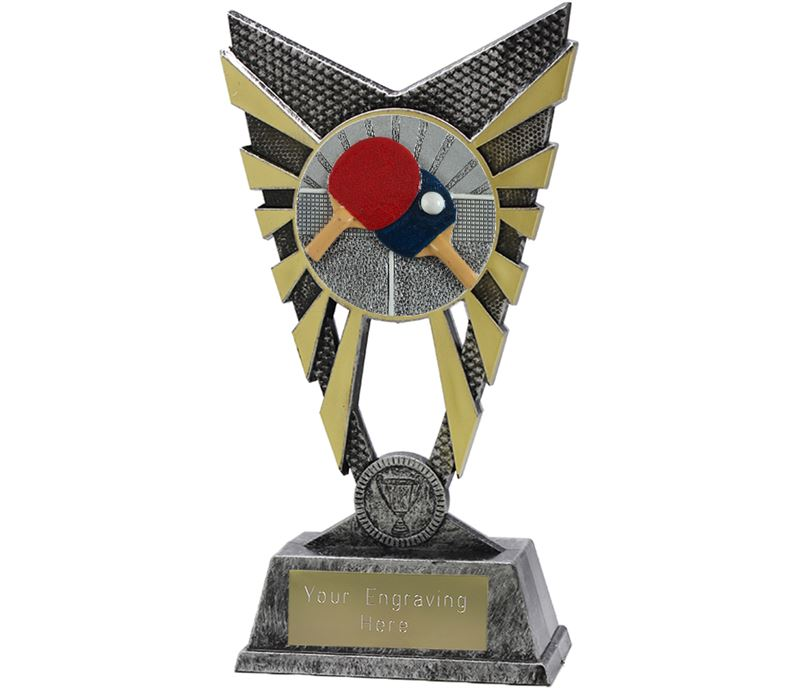 "Valiant Table Tennis Trophy Silver 23cm (9"")"