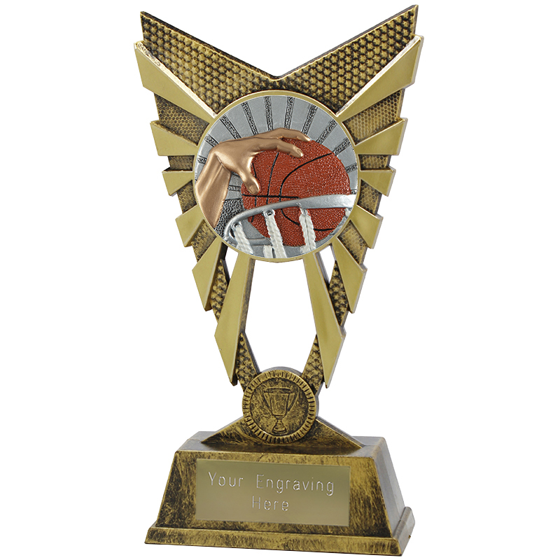 "Valiant Basketball Heavyweight Trophy Gold 23cm (9"")"