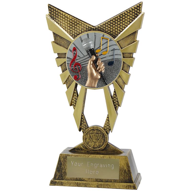 "Valiant Music Heavyweight Trophy Gold 23cm (9"")"
