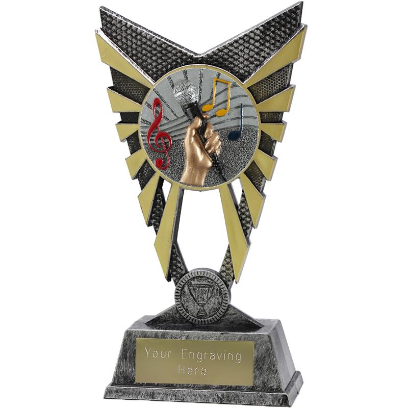 "Valiant Music Heavyweight Trophy Silver 23cm (9"")"