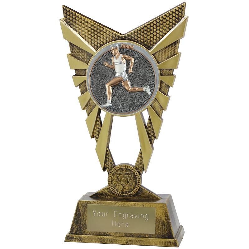 "Valiant Male Running Heavyweight Trophy Gold 23cm (9"")"