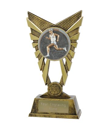"Valiant Male Running Trophy Gold 23cm (9"")"