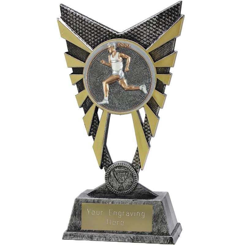 "Valiant Male Running Heavyweight Trophy Silver 23cm (9"")"