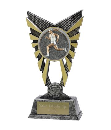"Valiant Male Running Trophy Silver 23cm (9"")"