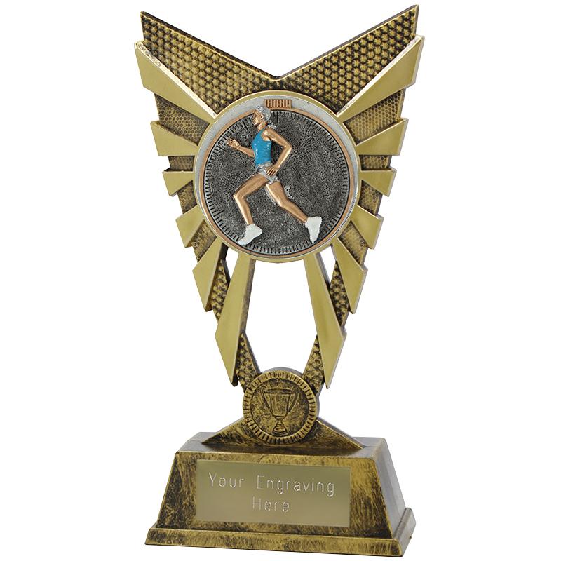 "Valiant Female Running Heavyweight Trophy Gold 23cm (9"")"