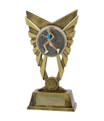"Valiant Female Running Trophy Gold 23cm (9"")"