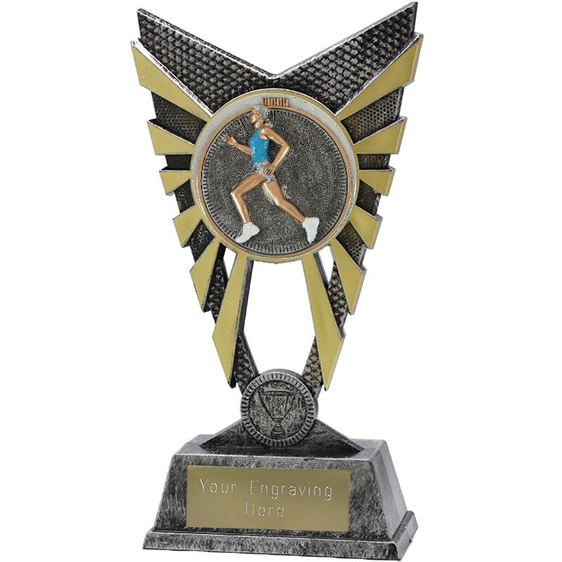 """Valiant Female Running Heavyweight Trophy Silver 23cm (9"""")"""
