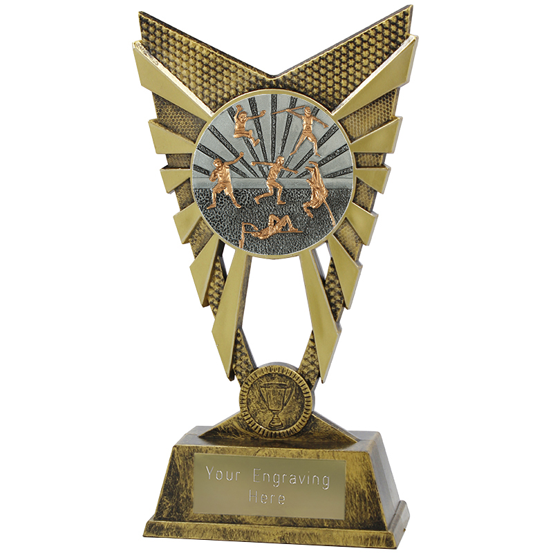 "Valiant Track and Field Heavyweight Trophy Gold 23cm (9"")"