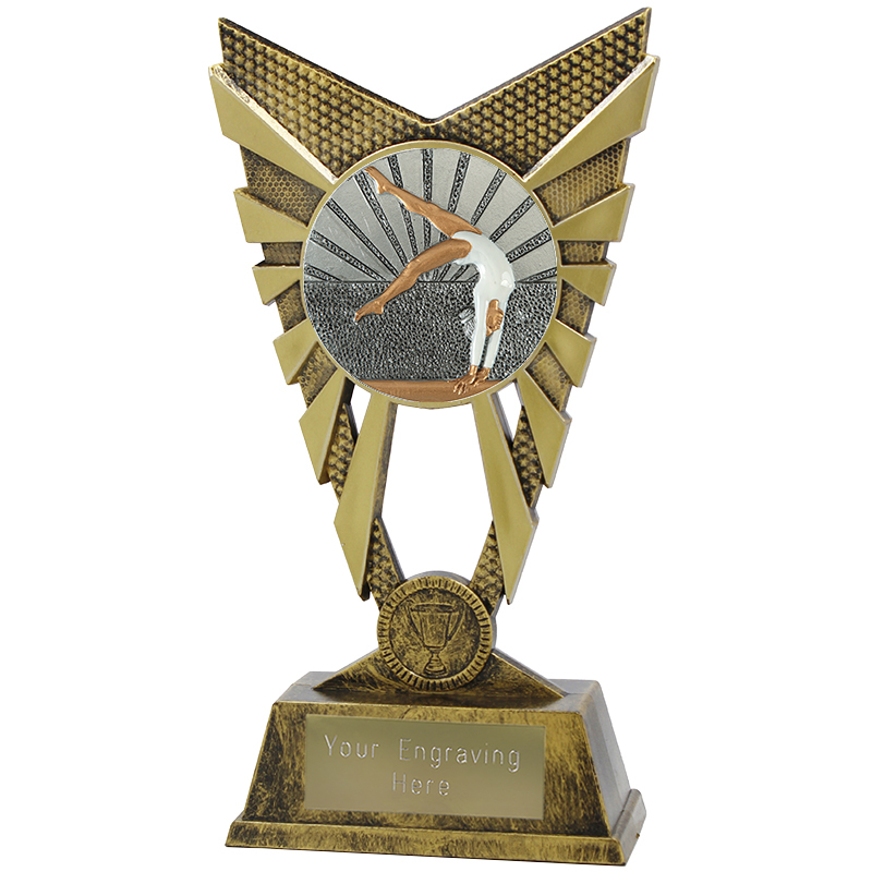 "Valiant Female Gymnastics Heavyweight Trophy Gold 23cm (9"")"