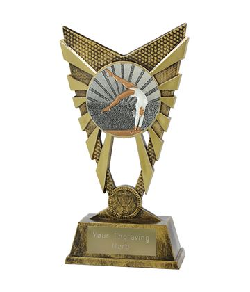 "Valiant Female Gymnastics Trophy Gold 23cm (9"")"