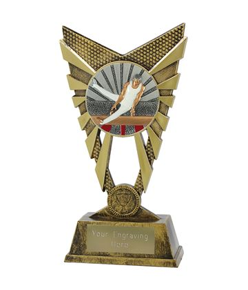 "Valiant Male Gymnastics Trophy Gold 23cm (9"")"