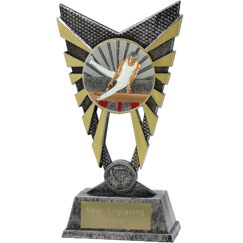 "Valiant Male Gymnastics Heavyweight Trophy Silver 23cm (9"")"