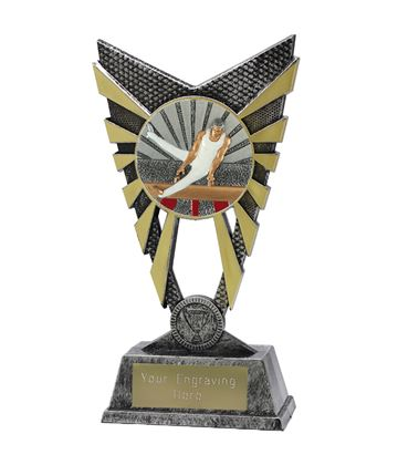 "Valiant Male Gymnastics Trophy Silver 23cm (9"")"