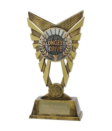 "Valiant Longest Drive Golf Trophy Gold 23cm (9"")"