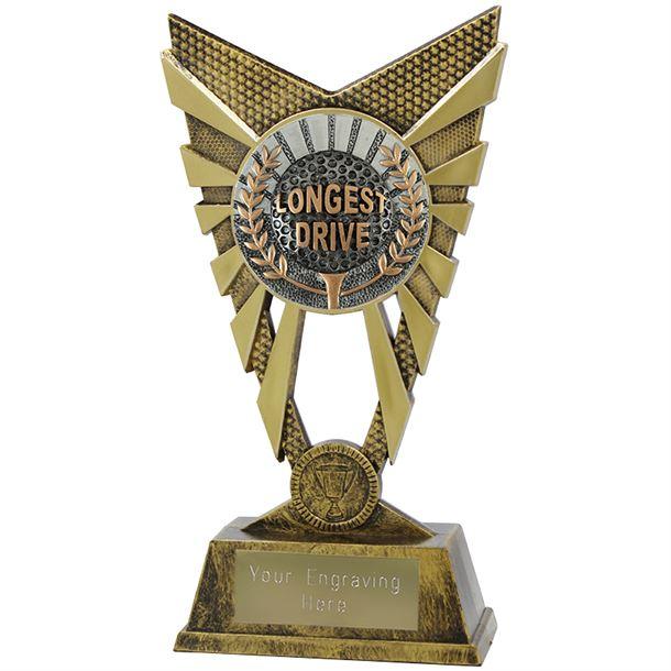 "Valiant Longest Drive Golf Trophy Gold 23cm (9"")"